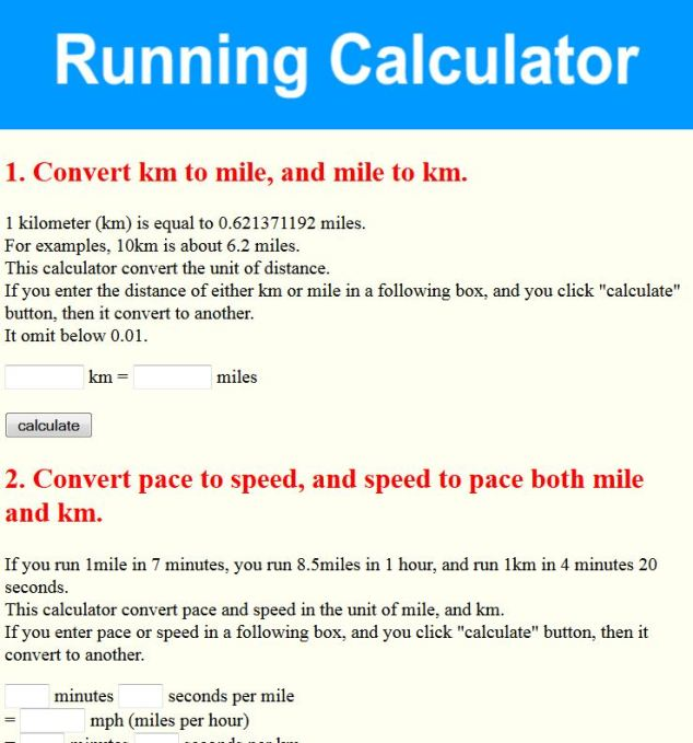 Running Calculator