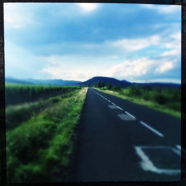Ma piste de course; une route au milieu des champs de vigne. Entre Fontès et Lézignan-la-Cèbe, dans ce magnifique département de l'Hérault.