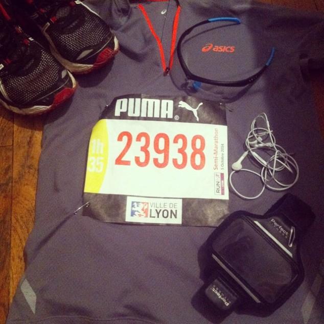 L'équipement de Maël pour le semi-marathon de Lyon