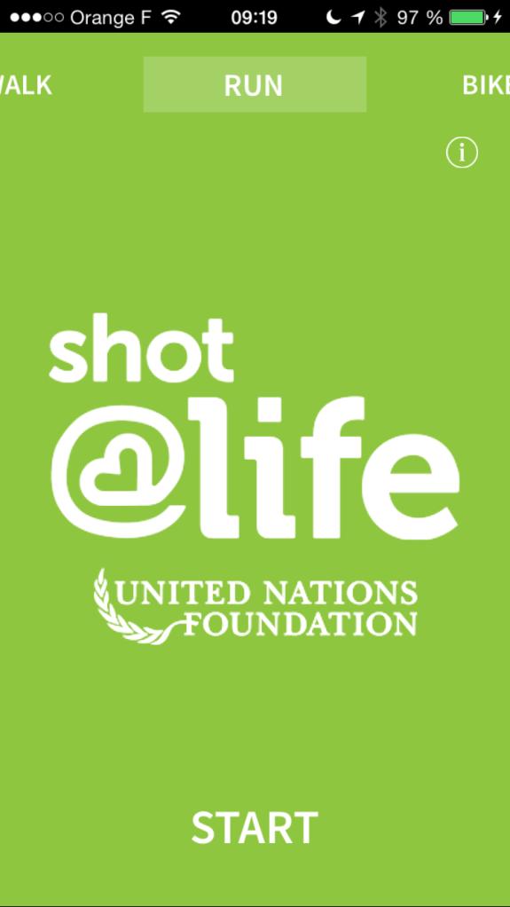 Avec Charity Miles j'ai choisi de courir et de m'activer pour Shot@Life